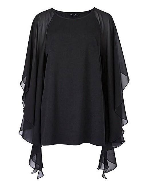 Black Batwing Top with Chiffon Sleeve | Simply Be