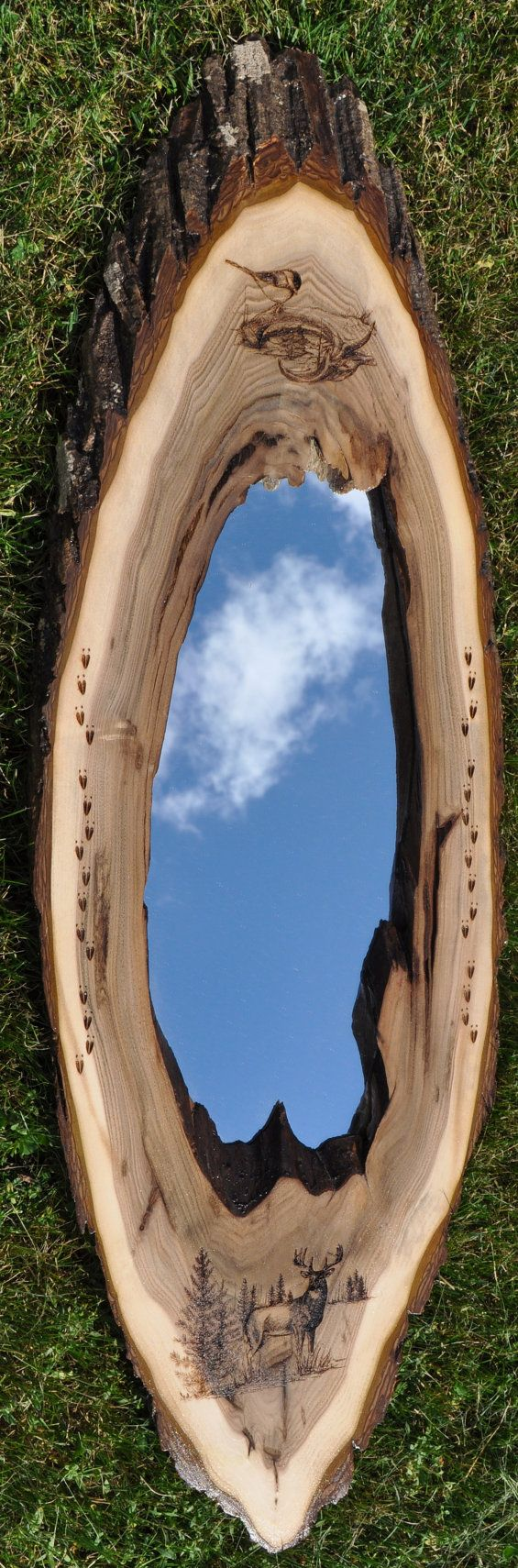 Hey, I found this really awesome Etsy listing at https://www.etsy.com/listing/200935905/live-edge-rustic-wood-oval-mirror-with