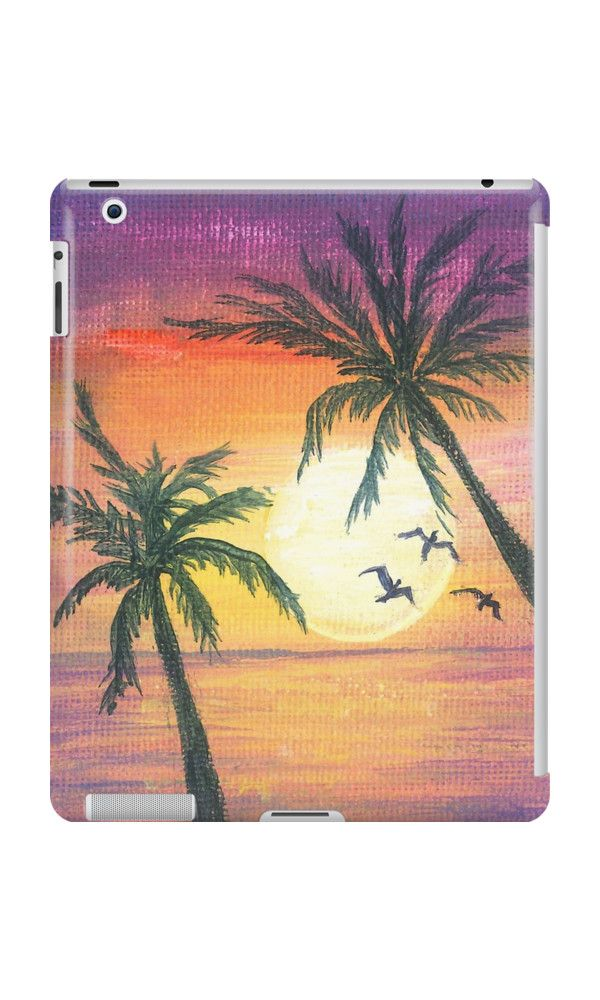 Tropical sunset with birds by Laura Wilson