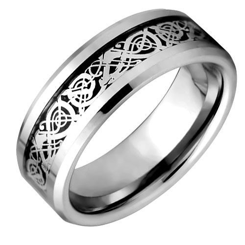 Celtic Ring Design With Carbon Fiber Inlay and Crafted out of Tungsten