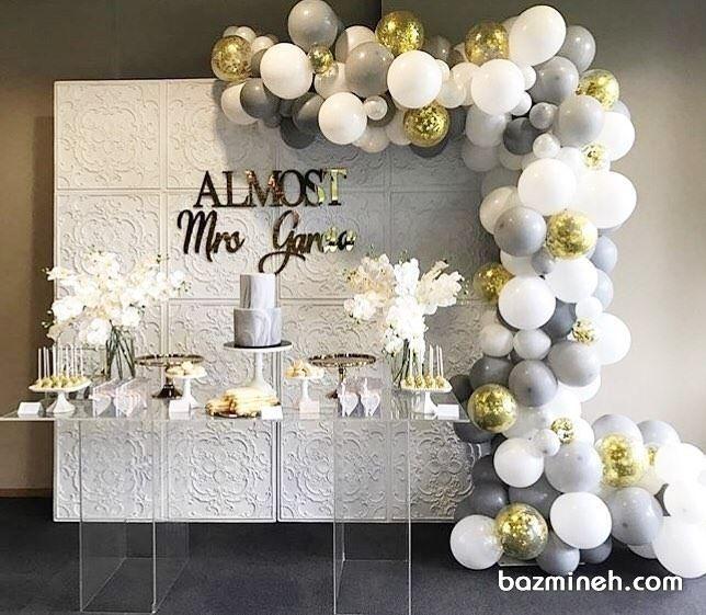 دکوراسیون و بادکنک آرایی شیک جشن با تم سفید طوسی طلایی Elegant Bridal Shower Bridal Shower Shower Decorations