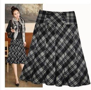 Novo 2016 Outono Inverno Saia De Lã de Moda Feminina Cintura Alta xadrez Saia Uma Linha Plus Size Saias Das Mulheres De Lã Médio E Longo H20