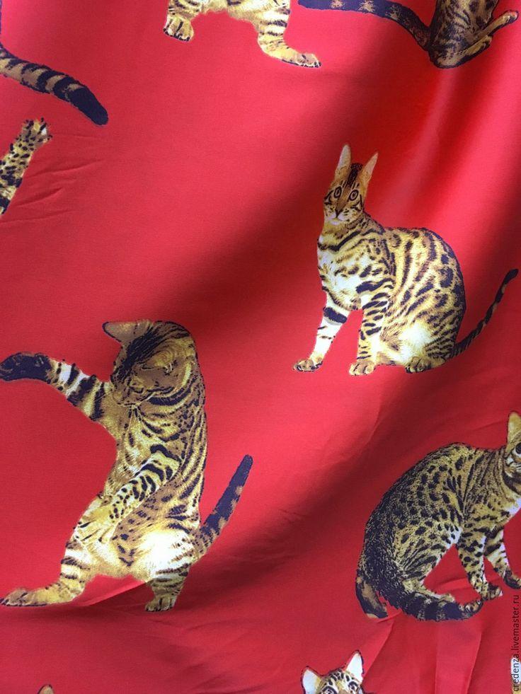"""Купить Плательный креп """"Коты"""" - ярко-красный, дольче габбана, красная ткань, ткань с кошками"""