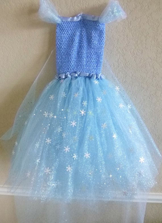 ICE QUEEN Full Tutu Dress Blue Glitter Tulle Sparkle Golden Crown Long Glitter Cape Train Snowflakes