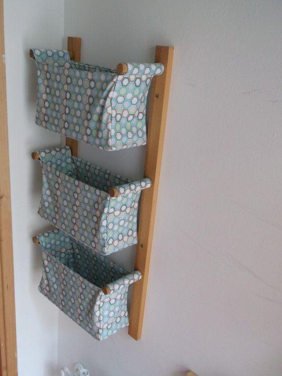 Wall hanging storage, diaper caddy - with 3 baskets - Light blue baskets, Riley Blake Blue hexagon designer fabric