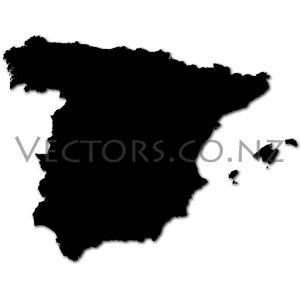 Blank Vector Map of Spain