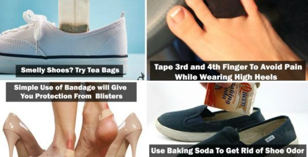 Every women dream about new fancy shoes, that often can be tight and uncomfortable to wear. Tight shoes cause painful blisters that usually destroy your mood. Here are some tricks that will help you. Tape your third and forth toe together to avoid pain while wearing high heels. Maybe it sounds weird but once you try, you'll feel the difference.  Use deodorant on the heels and toes to stay away from blisters, decrease fiction and dance all night. If you don't want to slide in your new heels…