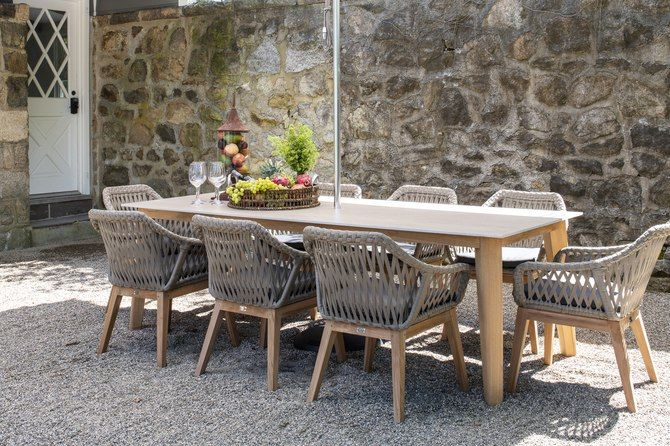 Essential Dining Table With Rectangular Ceramic Top Patio Dining