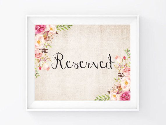 """Instant Download, Reserved Sign 8""""x10"""", Print Ready Wedding Sign, Wedding Decor Signage Template, DIY Printable PDF and JPEG (R17)"""