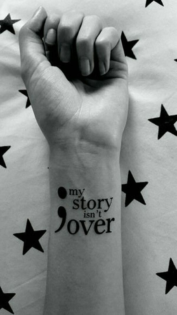 Semicolon tattoo's with words