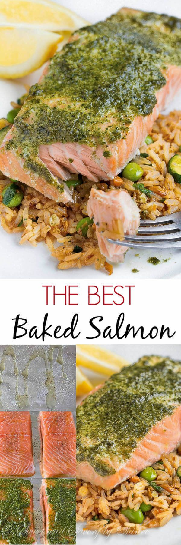 Baked Salmon with Pesto. Easy instructions for a simple oven cooked salmon. Bake at 300 for 15-20 minutes. With a tablespoon or two if pesto spread atop each fillet? Deeee-lish!