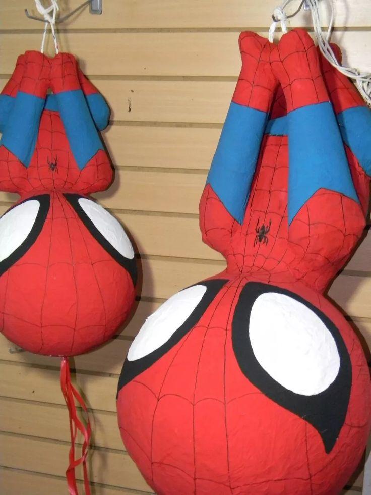 piñatas del hombre araña (spiderman) Spiderman Birthday Cake, Superhero Birthday Party, Birthday Fun, Princess Pinata, Unicorn Pinata, Batman Spiderman, Diy Birthday Decorations, Salvador, Hulk
