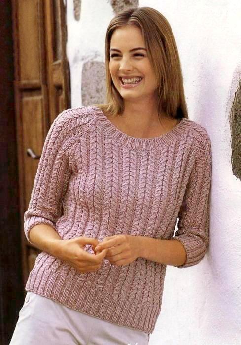 Узорчатый пуловер (вязание спицами)
