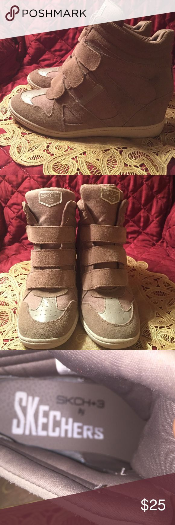 Skechers such +3 wedge sneakers Tanish color wedge sneakers in good condition. Wear at the bottom but overall good. Skechers Shoes Athletic Shoes