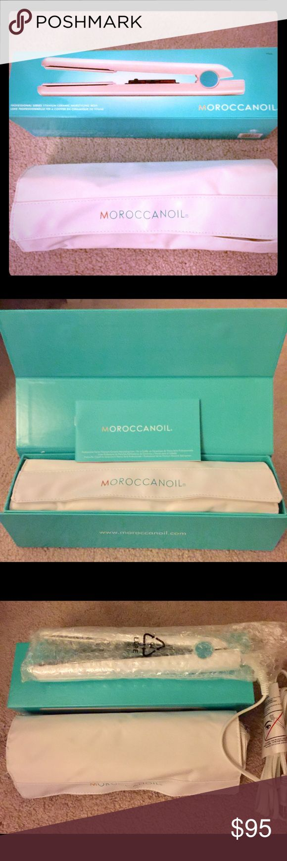 """Moroccanoil Professional flat iron 1""""-NEW NEW!! Item still has the bubble wrap on it! MOROCCANOIL Professional Series Titanium Ceramic Hairstyling Iron combines form, function and versatility. Ergonomically designed for ease of use this high-performance flat iron allows for a range of silky, frizz-free styles - from sleek and shiny to wavy and curly. FREE HEAT RESISTANT MAT AND CARRYING CASE!  Max adjustable temp up to 450 degrees. Retails at $192! Moroccanoil Other"""