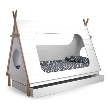 Tipi Continental Single Pine Bed Frame, White, Choose Drawers
