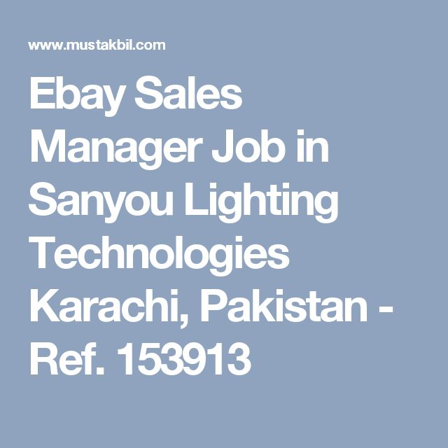Ebay Sales Manager Job in Sanyou Lighting Technologies Karachi, Pakistan - Ref. 153913