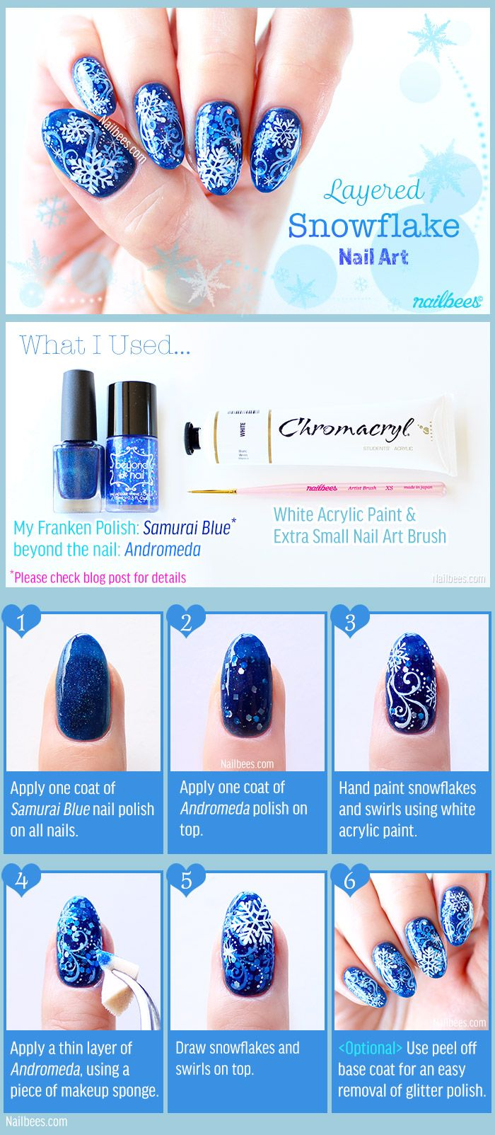 Layered Snowflake Nail Art Tutorial https://nailbees.com/layered-snowflake-nail-art