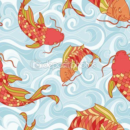 Красочные рыбы в море волны бесшовный фон