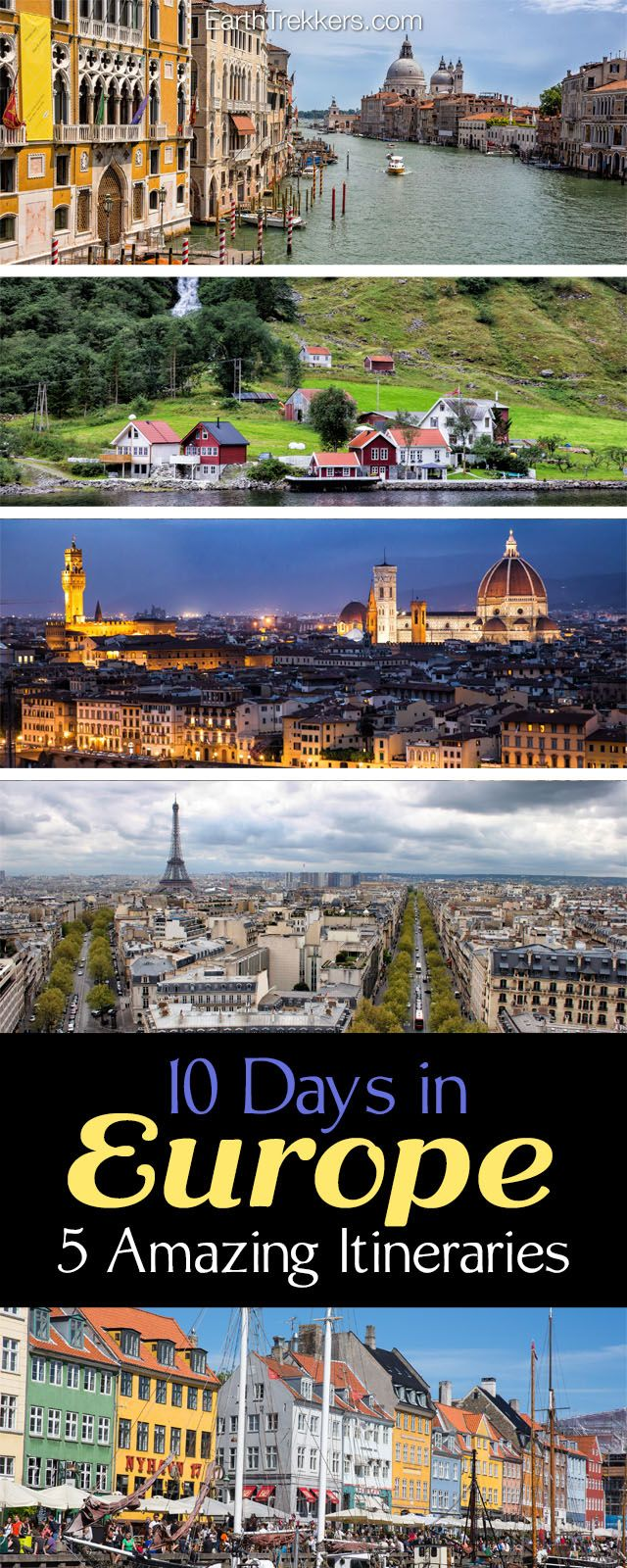 Europe Itineraries: Sample Itineraries for 10 days in Europe, including Paris, Rome, Florence, Venice, Barcelona, London, Amsterdam.