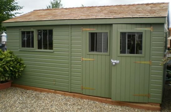 3.0 x 4.8m Superior Shed  2.0m eavesLichen Valtti Paint System with Cedar Shingl...