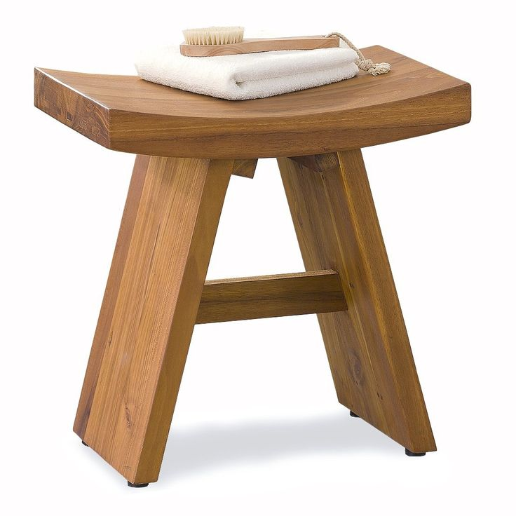 "AmazonSmile - 18"" Traditional Asia Teak Shower Bench - From the Asia Collection - Shower And Bath Safety Seating And Transfer Products"
