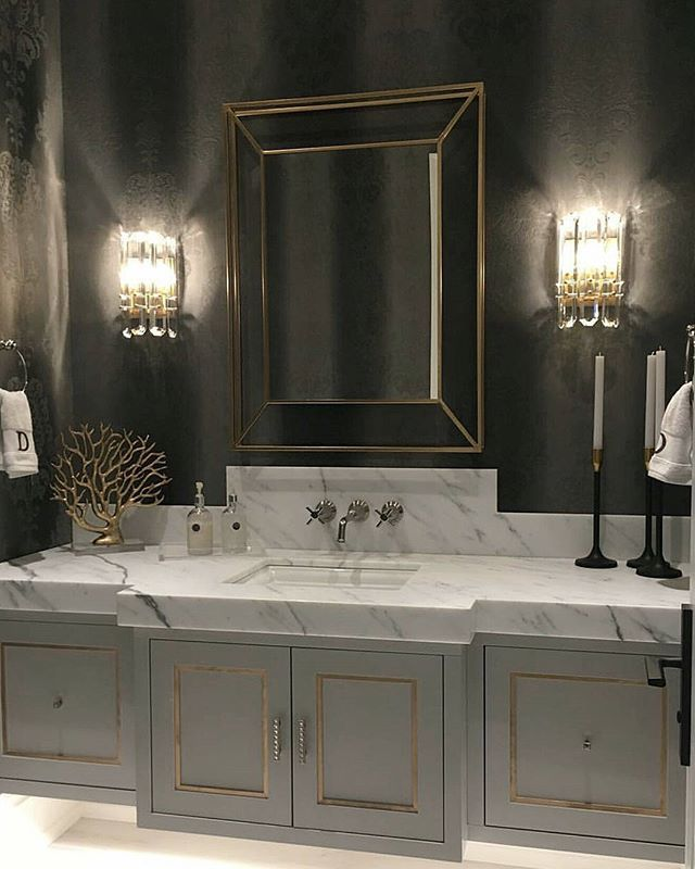 Modern Kitchen Design Photo by Grace R (@lovefordesigns) | Clipboards  atic powder room... . By Rooms of Distinction & beautiful work done by @niicomillworkgroup #lovefordesigns#homedecor #homedesign#fixerupper#interiordecor#luxury#newhome#lighting#homeinspo#living#designideas#interiors#decor#homeinspo#instadesign#hogar#casa#interiorinspo#staging#realestate#homesweethome#powderroom