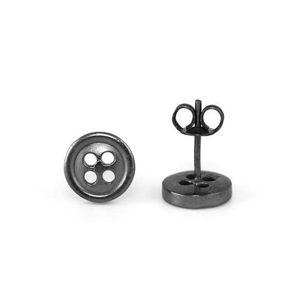 Button Studs oxidised sterling silver