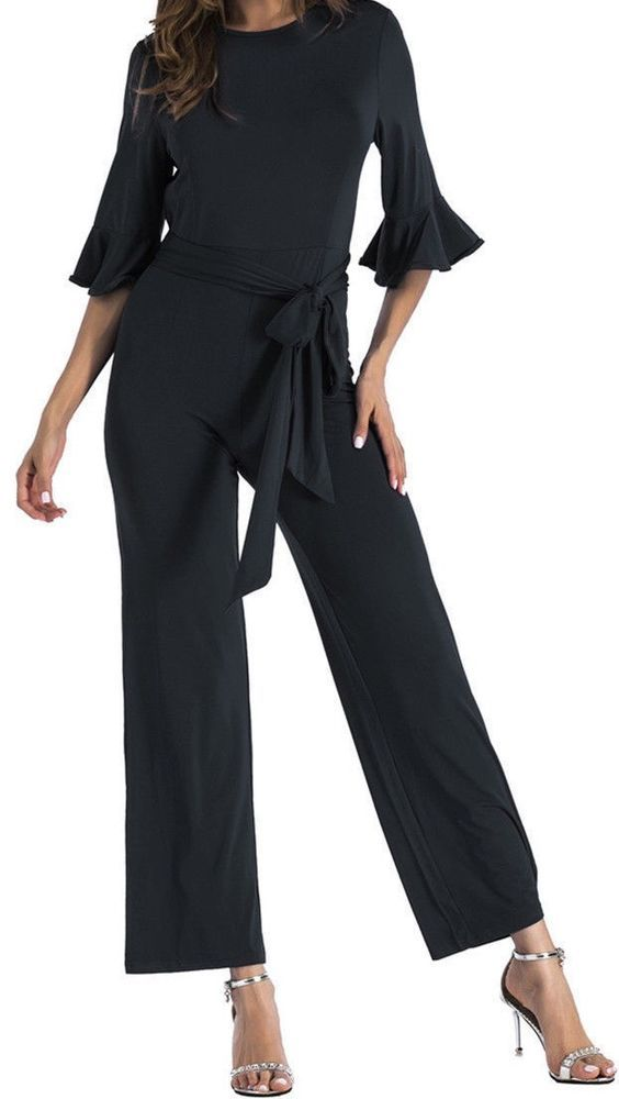 027cff8eec7 NEW BLACK HALF BELL SLEEVE WIDE LEG JUMPSUIT ROMPER SZ XL  fashion  clothing   shoes  accessories  womensclothing  jumpsuitsrompers (ebay link)