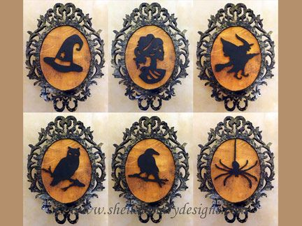 victorian halloween decorations sld398 halloween silhouette ornaments and mini plaques set 1 - Victorian Halloween Decorations