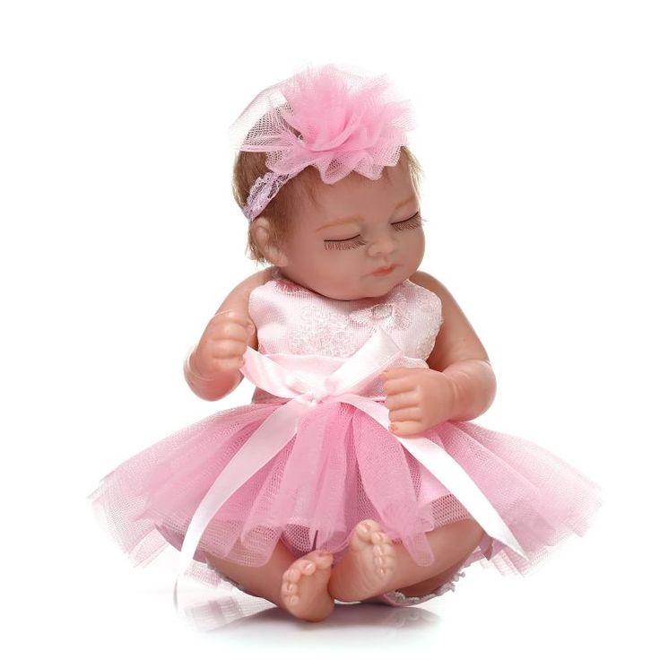 32.29$  Buy here  - Mini 100-reborn-babies dolls lifelike reborn babies with princess dress bebes gift toys for children boneca reborn