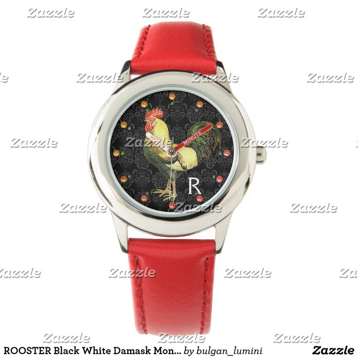 ROOSTER Black White Damask Monogram Wristwatch #fashion #roosters #farm #animalfarm #rustic #animals #birds #watches