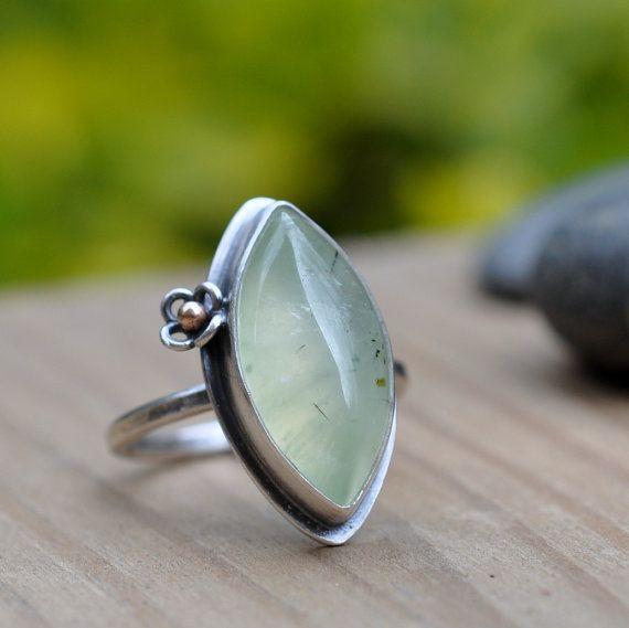 Sterling Prehnite Ring Oxidised Sterling Silver by christinewalsh