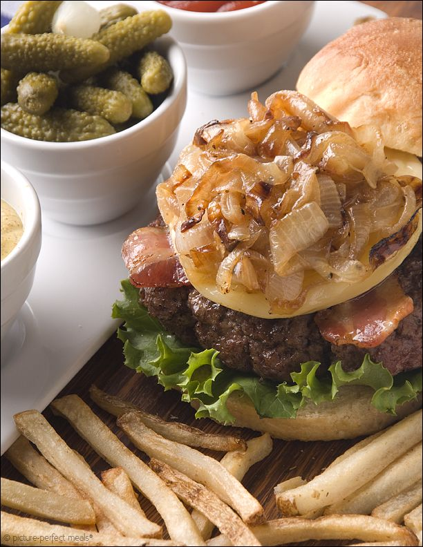 French Bistro Burgers with Caramelized Onions, Bacon and Brie