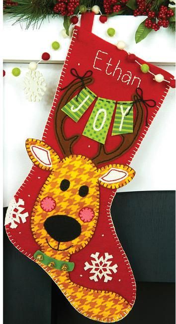 Dimensions Reindeer Joy Christmas Stocking - Felt Applique Kit. This felt applique kit contains one felting needle, pre-sorted cotton thread, die-cut felt, jing
