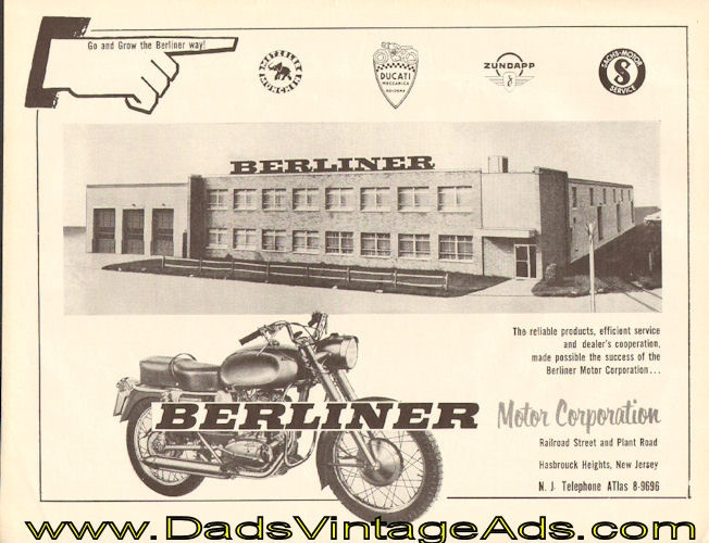 1959 Vintage Motorcycle Ad: Berliner Motor Corporation Building, Hasbrouck Heights, New Jersey