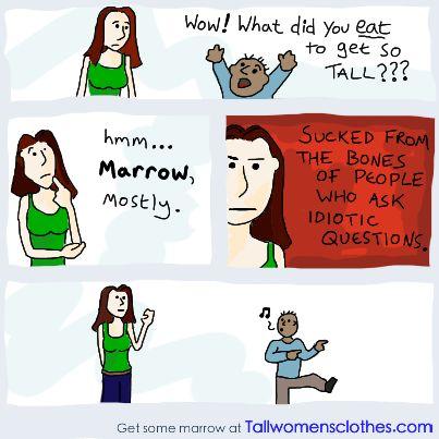Stupid questions to ask a tall girl #2048  #tallgirls #comic