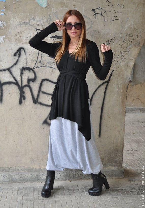 Купить Черная блузка с поясом - черный, однотонный, блузка женская, блузка нарядная, блузка из хлопка
