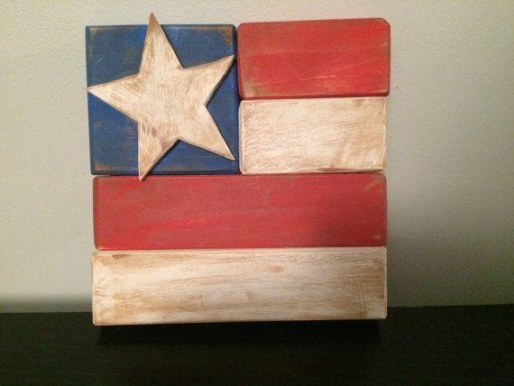 Bandera americana rustica por WishWellCrafters en Etsy