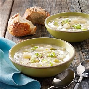 Hearty Leek and Potato Soup Recipe -This thick, flavorful soup is a winner in our home and makes a nice starter dish. —Rachel Taylor, Springfield, Tennessee