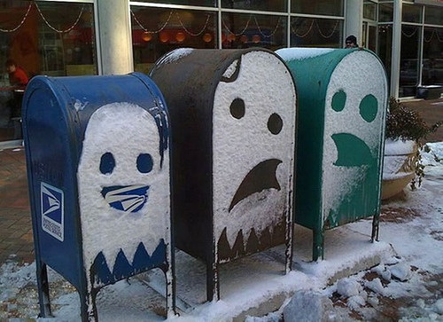 Funny: Funny Pics, Pac Man, Street Art, Snow Ghosts, Snow Art, Mail Boxes, Letters Boxes, Mailbox, Streetart