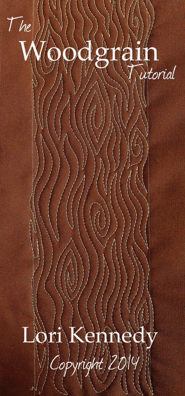 Woodgrain or tree bark pattern.  Free Motion Quilting tutorial.