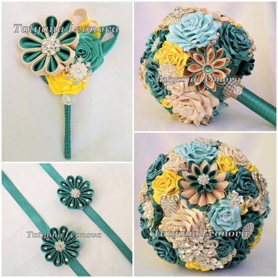 Brooch bouquet Emerald Wedding Accessories boutonniere от LIKKO