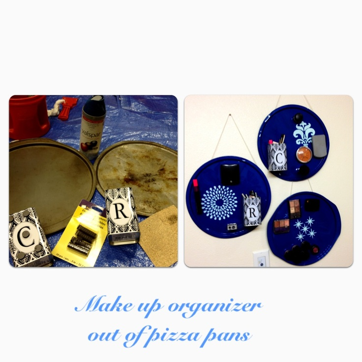 DIY makeup organizer of old pizza pans