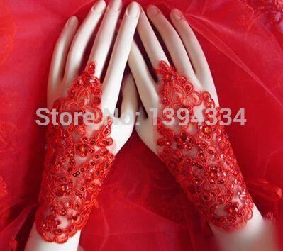 Хиты 2014 свадебные перчатки с коротким роскоши алмаза кружева тюль без пальцев красный и белый свадебное платье аксессуары высокое качество BG9.11.5