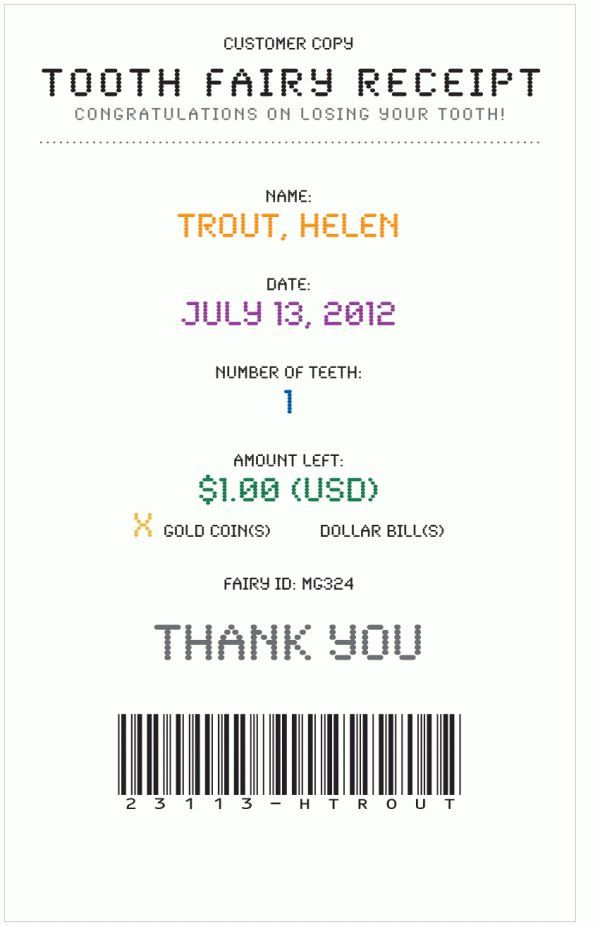 Cute! Tooth Fairy Receipt    cute way to remember dates.