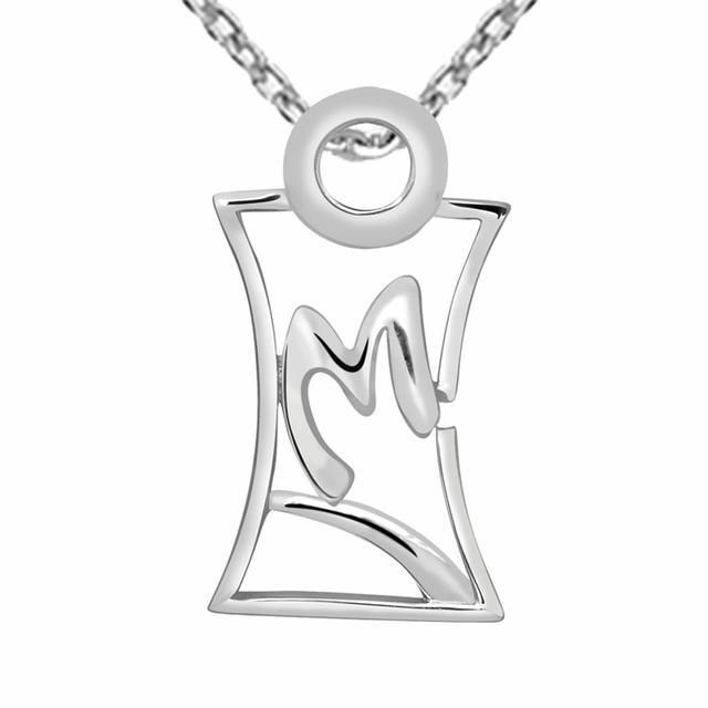 """Ice Rhodium-Plated Sterling Silver Abstract """"M"""" Initial Pendant Necklace"""