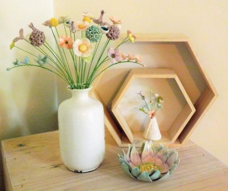 ceramic flowers and flower bowl