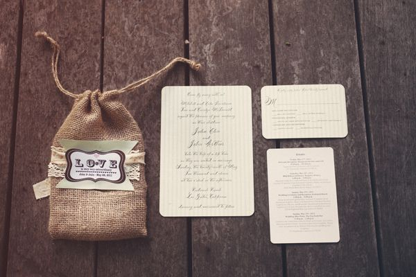 rustic wedding stationery (photo by Kate Harrison)