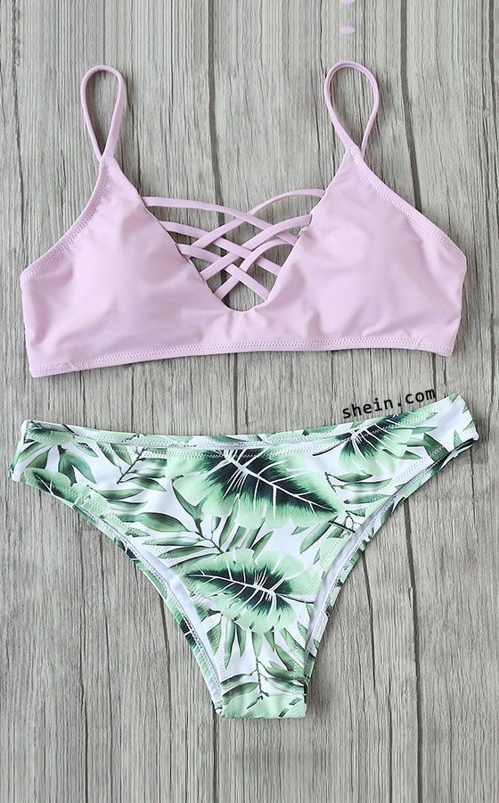 Leaf Print Criss Cross Mix & Match Bikini Set